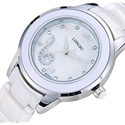 LONGBO Womens Luxury Ceramic Band Business Bangle Watch Silver Case Music Note Bracelet Wrist Dress Watches Fashion Rhinestone Crystal Lady Analog Quartz Luminous Hand Big Face Watches