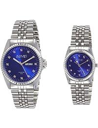 August Steiner AS8201SSBU - Set de 2 relojes de cuarzo para hombre y mujer, color plata