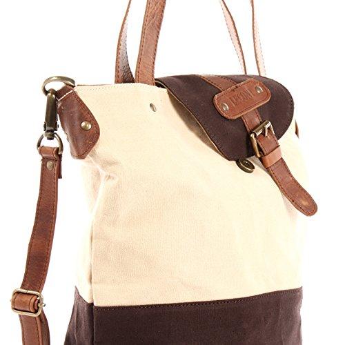 LECONI Schultertasche Umhängetasche großer Shopper Damen Handtasche vintage Canvas Leder 38x35x11cm LE0053-C beige / mokka