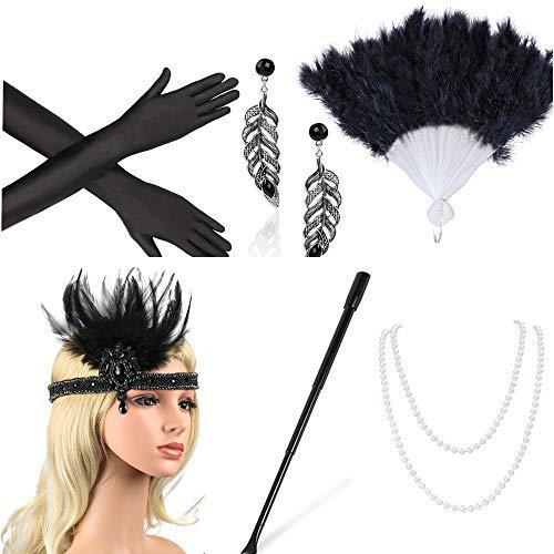 Beelittle 1920er Jahre Zubehör Set Flapper Stirnband, Halskette, Handschuhe, Zigarettenspitze Great Gatsby Zubehör für Frauen (H2)
