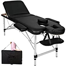 TecTake Camilla de masaje Mesa de masaje Banco de masaje en aluminio 3 zonas negro