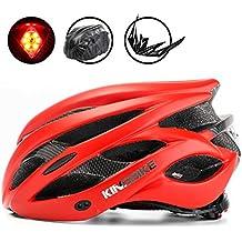 KINGBIKE Casco de Ciclismo Bicicleta Carretera de Ruta MTB para Adulto Hombre Mujer Con Luz Trasera de Seguridad LED / con Protección Contra la Lluvia Cubierta / con Visera de Sol Extraíble / Ligera / Cómoda / 54-60CM (Rojo)