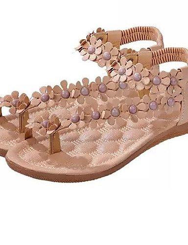 UWSZZ Die Sandalen elegante Comfort Schuhe Frau Kunstleder stumpfen flache Sandalen freie Zeit formale/Casual/Schwarz/Rot/Weiß, Weiß-us7.5/EU38/uk5.5/CN 38, Weiß - us7.5/EU38/uk5.5/CN 38 White