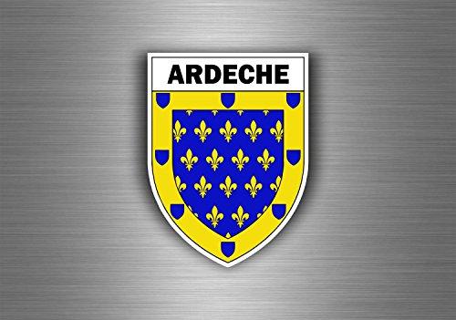Akachafactory Aufkleber Sticker Auto Motorrad Wappen Stadt Ardeche Region armoirie Flagge