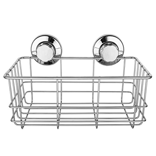 iPEGTOP Strong Suction Cups Deep Shower Caddy Bath Shelf Rust-Free Stainless Steel Basket Shampoo Conditioner Holder for Bathroom Kitchen Tidy Organizer