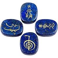 winmaarc Heilung Kristall Schwarz Achat 4PCS Gravur Steinen Palm Stone Reiki Balancing Lapis Lazuli preisvergleich bei billige-tabletten.eu
