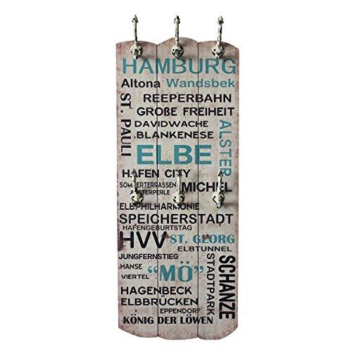 garderobe hamburg UMOI Wandgarderobe im Vintagestil aus Massivholz mit 6 Wandhaken Flurgarderobe im Shabby Chic Stil Modell 2018 (Hamburg)
