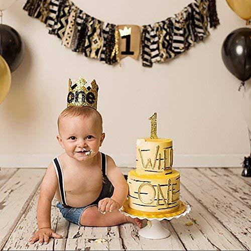 Dremisland Baby Boy Krone Stirnband Haarschmuck erste Geburtstagsparty Caps Supplies Decor (SCHWARZ)