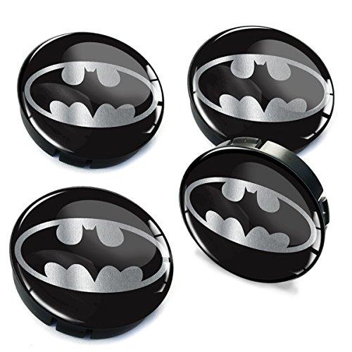 Skino 4 x 60mm Coprimozzi Copricerchi Tappi Ruote Batman Argento Auto Logo Stemma Adesivo C 72