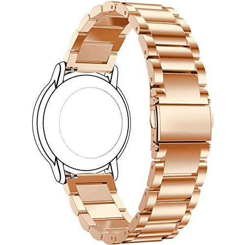ECSEM Replacement Premium Solid Stainless Steel Watch Bands Metal Straps Bracelets - Choices of Color & Width (22mm) -3beads (Rose Gold) (Pebble Steel Metal Watch Band)