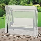 Klassik Schutzhülle für Gartenschaukel/Hollywoodschaukel aus PE-Bändchengewebe - transparent - von 'mehr Garten' - für 3-Sitzer (Breite: max. 220cm)
