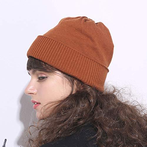 Chapeau Automne et Hiver de Couleur Unie Femelle Sauvage Chaud Bonnet  tricoté Bonnet de Mois de 67954439ec0