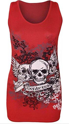 Damen-Mädchen-Sleeveless 3 Schädel-für immer junge gedrucktes beiläufiges Weste-T-Stück Spitze (S/M-EU36/38, Red)