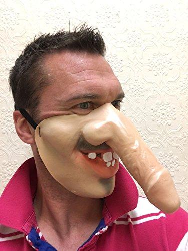 Lustig Halbes Gesicht DICK NASE WILLY Gesichtsmasken, Grau, Ingwer, Alter Mann, Hing Jungessellen Party Kostüm Maskenkostüm Zubehör - Lang Dick Nase (Alter Mann Kostüme)