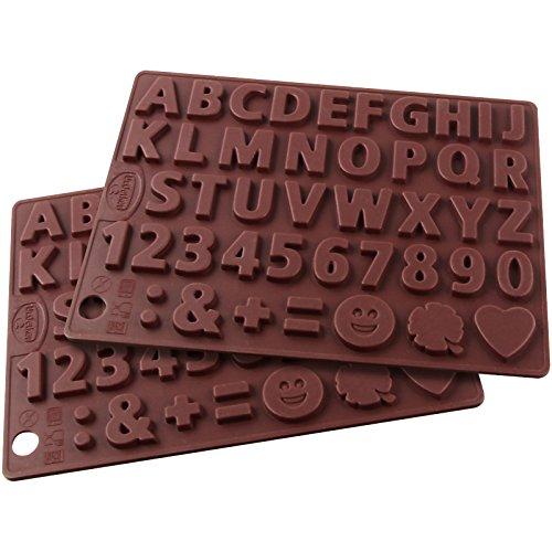 """Dr. Oetker Silikon-Schokoladenform \""""Buchstaben und Zahlen\"""" Silikon, Silikonformen 2er-Set, Deko Geburtstagskuchen,Gießformen für Schokolade, Menge: 2 Stück"""