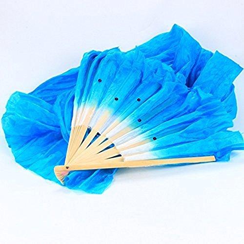 Sungpunet handgefertiger Fächer für Bauchtanz aus Seide und Bambus, mit langem Schleier, für chinesische Yangko-Volkstänze und Bühnenauftritte, faltbar, 1,8m