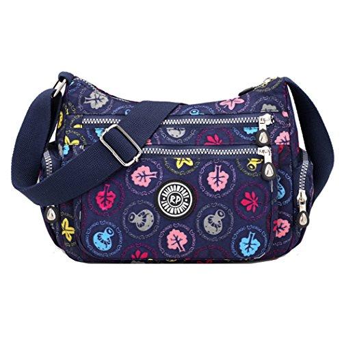 Crossbody Handtaschen Casual Schultertaschen für Frauen Wasserdichte Nylon Messenger Bags (Blauer Pilz) (Canvas-nylon-geldbörse)