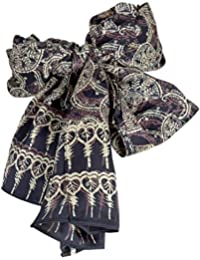 Pure Silk Batik Fans Scarf in Cream on Blue from YourSarong