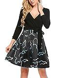 Meaneor Damen Kleid Chiffon Sommerkleid Strandkleid Retro Blumenmuster A-Linie Boho Stil mit Schleife Knielang EU 40(Herstellergröße: L), Muster 1