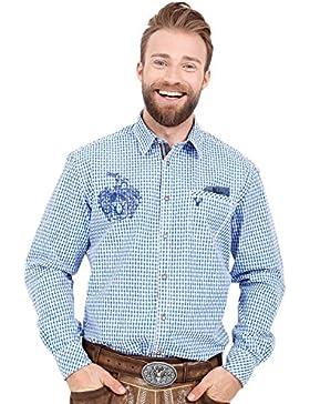 Krüger Buam 95104 Trachtenhemd Kariert Grün Blau Rot Herren Tracht mit Stickerei