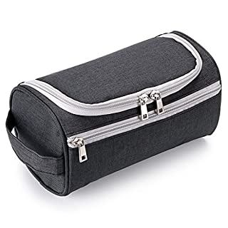 IGNPION Men's Travel Toilet Wash Bag Grooming Kit Makeup Pouch Water Resistant Toiletry Organiser with Hanging Hook (Black)