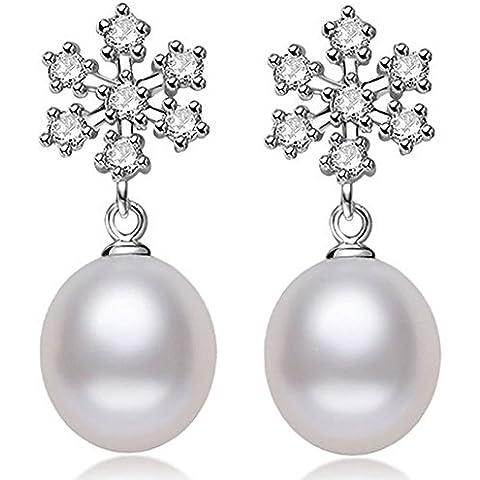 JoyfulshineWomen placcato in argento 925, con perla-Orecchini con pendenti a goccia a forma di fiocco di neve