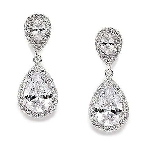 Mariell Elegant Cubic Zirconia Halo Teardrop Earrings for Bridal or Fashion - Genuine Platinum Plated by Mariell