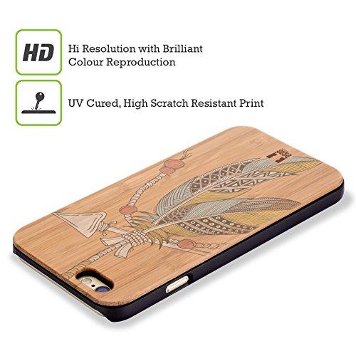 Head Case Designs Azteke Tribal Federn Hülle mit Rückseite aus Bambus Holz für Apple iPhone 6 / 6s Einheimische Pfeil