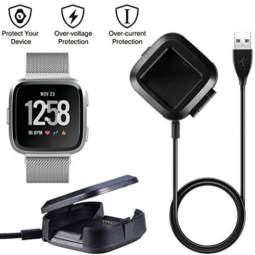 AMH Für Fitbit Versa Watch Ladestation, Neu Charging Cradle Lade Docking Station Ladegerät Ladestation Dockingstation mit USB Kabel