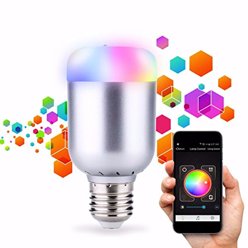 Glisteny Bluetooth Smart-Glühbirne, 6W, Nachtlicht, 16Farben-LED, dimmbare Glühbirne zum Schlafen, Wecker- und Party-Modi, gesteuert über iPhone oder Android, E27 Lamp, E27, 6.0 wattsW