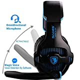 [Lultima Versione Cuffie Gaming per PS4] Sades SA810 Cuffie da Gioco con Microfono Stereo Bass Regolatore di Volume per PS4 PC Xbox One MAC iPad iPod iPhone (Blu/Nero)