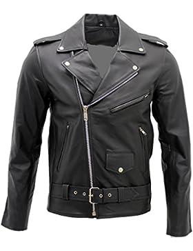 Hombres elegante Brando chaqueta de cuero negro motociclista
