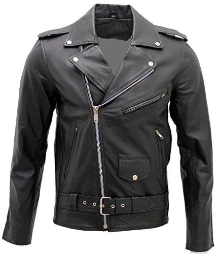 Männer stilvolle Brando Beiläufige schwarze Bikerjacke aus Leder 5XL