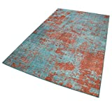 wecon home I Kurzflor Vintage Teppich I Silhouette I Hot Spring WH-18003-04 I (60 x 100 cm, Türkis Blau Rost Braun)