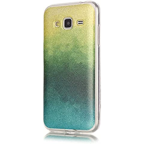 BONROY ® TPU Schutzhülle für Samsung Galaxy J3 (2016) DUOS 5,0 Zoll case Wallet Schale Tasche Silikon Back Cover Etui Skin Shell Handyhülle Intarsien Weich - lila Feder Traumfänger
