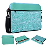 Kroo Teal Tablet/Laptop Sleeve with Shoulder Strap for Toshiba CB30-102 13.3 inch Google Chromebook