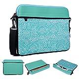 Kroo Tablet/Laptop Hülle Sleeve Case mit Schultergurt für Dell Latitude 12E5250 grün blaugrün