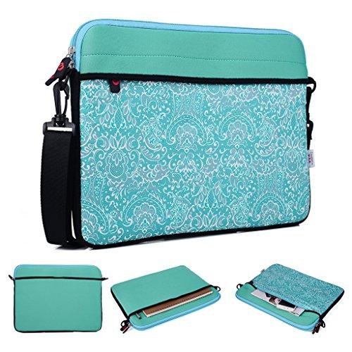 Kroo Tablet/Laptop Hülle Sleeve Case mit Schultergurt für Asus Transformer Book Trio grün blaugrün