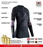 X-Bionic Energy Accumulator 4.0 Round Neck Long Sleeves, Strato Base Camicia Funzionale Donna, Charcoal/Magnolia, M