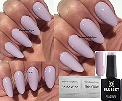 Bluesky A90 Pastel Stone a hint of lilac Nail Gel Polish UV LED Soak Off PLUS 2 Luvlinail Shine Wipes