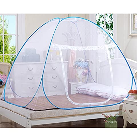 Portable Folding Mosquito Net for Bed, Free Installation Single Door Mongolia Nets, Anti Mosquito Bites Bed Canopy Curtains,Guard Tent Attached Bottom Mongolian Yurt for bed (79in(L)x59in(W)x59in(H))