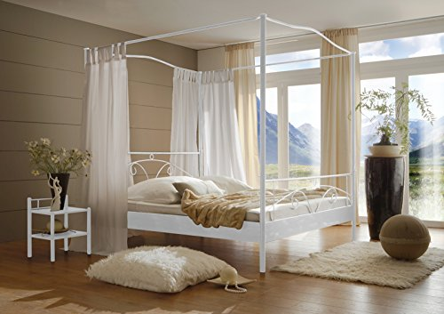 SAM® Metallbett Calvi, in weiß, filigrane Verzierungen, Blickfang, 180 x 200 cm (Himmelbetten Eisenbetten)