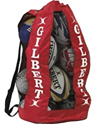 Gilbert - Bolsa de malla con correa para 12 pelotas de rugby rojo rosso