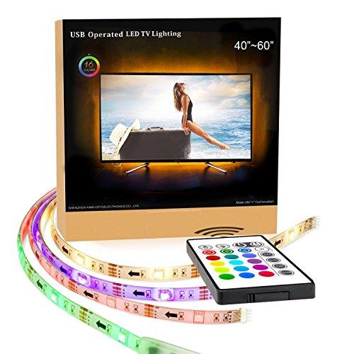 TV Tira LED Iluminación ,4*500mm Impermeable USB 5050 SMD RGB Multicolor Flexible Tira de Led Kit Con mando 16 colores DC 5v ,Pangton villa