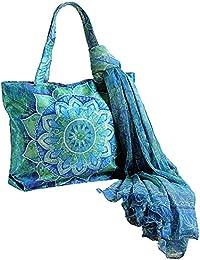 Digital print dupion faux en mousseline de soie et écharpe-sac pour accessoire mode femmes