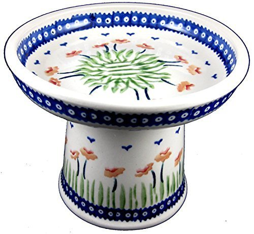 polish-pottery-raised-wet-food-dish-cat-small-dog-classic-rmac-red-poppies