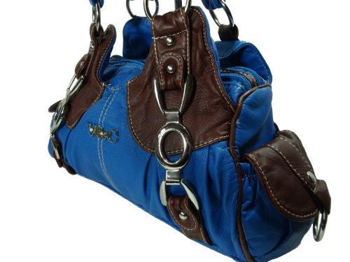 LISAN V&C H932-5 kleine mini Handtasche, Tasche in 7 Farben 26x18x10 Blau Braun
