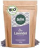 Lavendelblüten - blau, ganz (Bio, 100g) I Beste Bio-Qualität aus Frankreich I Für Lavendel-Tee, als Bad oder als Duft I im wiederverschließbaren Aroma-Frischebeutel I Abgefüllt und kontrolliert in Deutschland (DE-ÖKO-005)