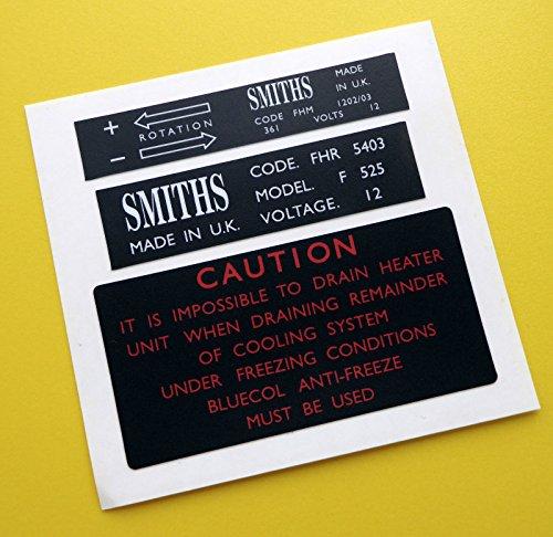 MGB Vintage früh optik SMITHS heizung box und ventilator motor sticker aufkleber