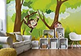 Monkeys Jungen-Schlafzimmer - Wallsticker Warehouse - Fototapete - Tapete - Fotomural - Mural Wandbild - (2975WM) - XXXL - 416cm x 254cm - VLIES (EasyInstall) - 4 Pieces